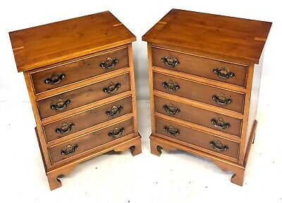 * PAIR Yew Bedside Cabinets / Bedside Chest of 4 Drawer / Lamp Stands