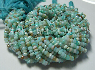 13 strand PINK PERUVIAN OPAL faceted rondelle gem stone beads 3.5mm