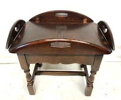 * OLD CHARM Oak Antique Georgian Style Butlers Tray Occasional Table Lamp Stand
