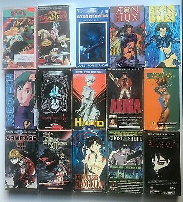 Lot of 15 Anime VHS Tapes Aeon Flux Akira Ghost in the Shell Vampire Manga NTSC