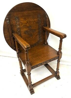 * Antique Carved Oak Monks Chair /  Seat Metamorphic Chair Table