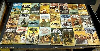 Vintage Louis L'Amour Western Paperback Book 24 Lot Sackett # 17 Jubal Brand PBs