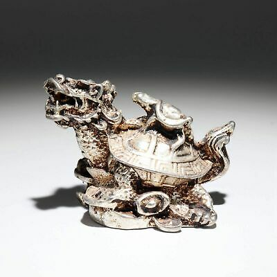 Collectable China Old Miao Silver Hand-Carved Dragon Turtle Auspicious Statue