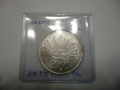 1893 MEXICO SILVER  8 Reales  Coin Zs Fz Caps & Rays KM 377.13  BU