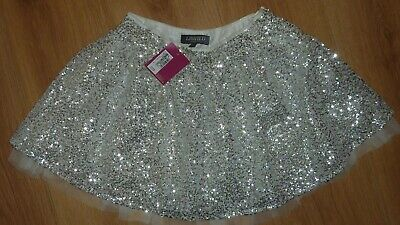 Marks & Spencer M&S White Silver Sequins Sparkly Party Skirt Age 9-10 New Bnwt