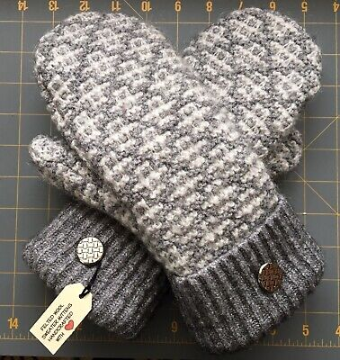 SWEATER MITTENS Handmade from RECYCLED WOOL BLEND SWEATER WARM FLEECE LINING #GC