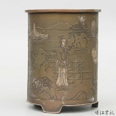Collectable China Old Red Copper Hand-Carved Figure & Scenery Unique Brush Pot