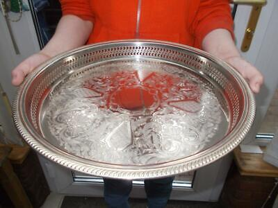 Sheffield Made Silver Plated Circular Gallery Tray In Good Condition
