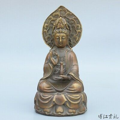 Collectable Old Bronze Hand-Carved Buddhism Kwan-Yin Delicate Decorate Statue