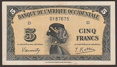 Ch UNC French West Africa P-28a / B115a  wide V in signature  5 Francs    675