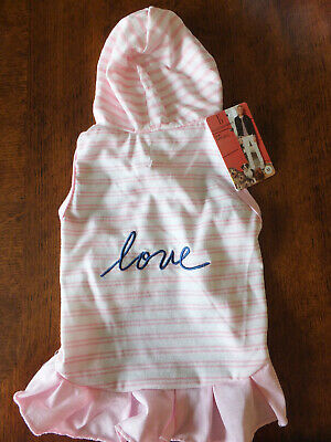 ELLEN DEGENERES ED ~ Pink Stripe DOG hoodie dress SASSY SUMMER FUN sz Medium