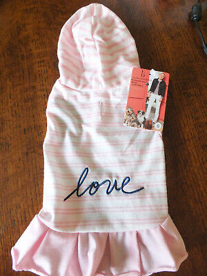 ELLEN DEGENERES ED ~ Pink Stripe DOG hoodie dress SASSY SUMMER FUN sz SMALL