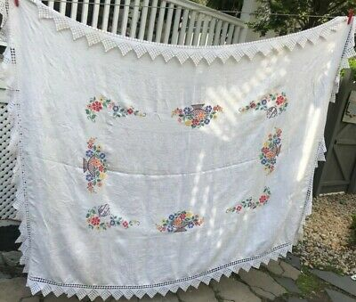 Vintage Tablecloth Embroidered Floral Basket Crochet Trim 58x76 Handmade