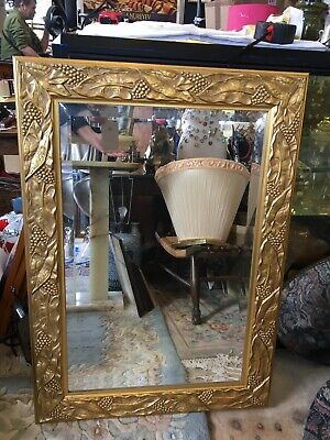 Large Mirror with Bevelled Glass and Decorative Gold Frame 32x22 Inches
