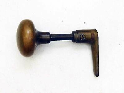 Antique Cast Brass Knob & Lever Set for Screen Door Latch on Spindle with Screws