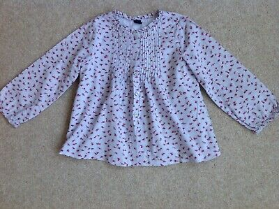 GAP Girl's Cotton Blouse/ Smock Top Pale Blue with Pink Rosebuds Age 5 yrs VGC