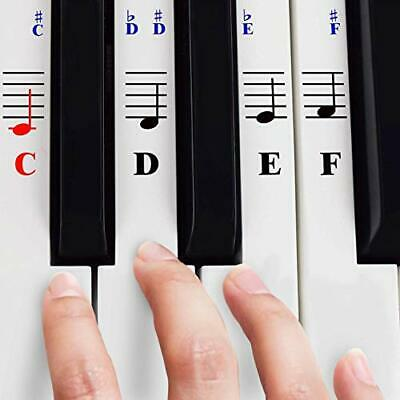 Piano Stickers for 49/61/ 76/88 Key Keyboards White Keys – Transparent and...