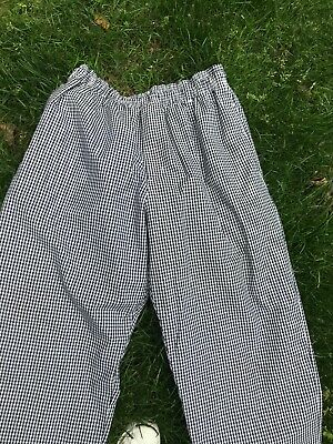 New Chef Fashions California Black White Check Pants  XL