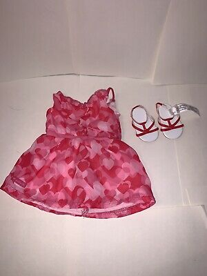 """American Girl 18"""" doll Red Hearts Ruffle Dress Valentine's Day Outfit CLOTHES ❤️"""