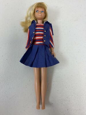 Vintage Barbie Blonde Straight Leg Skipper Doll In Ship Ahoy Dress & Vest