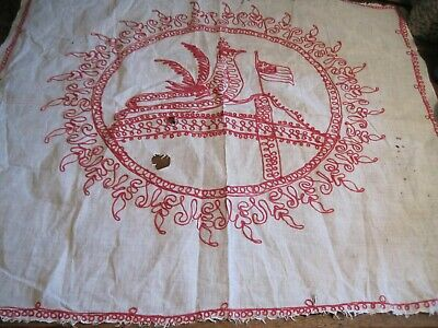 Antique Victorian Era? Red Work STYLE Embroidery Pillow Cover BIRD/FLAG