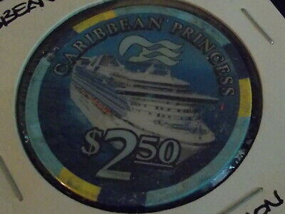 CARIBBEAN PRINCESS PARTHENON CASINO $2.50 hotel casino gaming poker chip