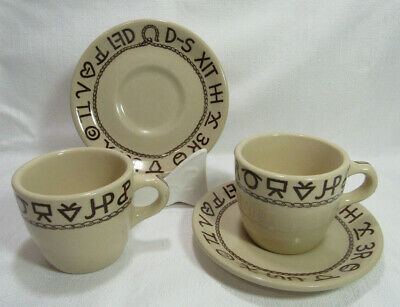 Wallace USA RODEO Westward Ho Till Goodan Two (2) Flat Stack Cups & Saucers GC