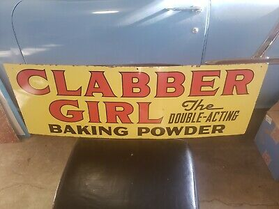 VINTAGE 2-SIDED CLABBER GIRL BAKING POWDER METAL ADVERTISING SIGN Gas Station