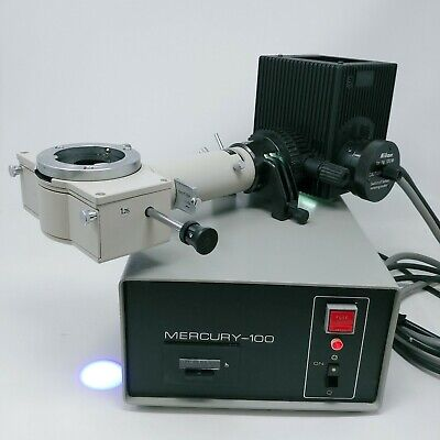 Nikon Microscope Fluorescence Illuminator, Mercury Lamphouse & Power Supply