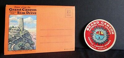 Fred Harvey Grand Canyon Rim Drive Scenes Postcard Folder & Luggage Label