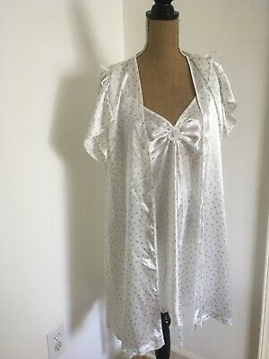 Oscar De La Renta Pink Label Cabana Dots, Robe & Gown Peignoir Set, NEW
