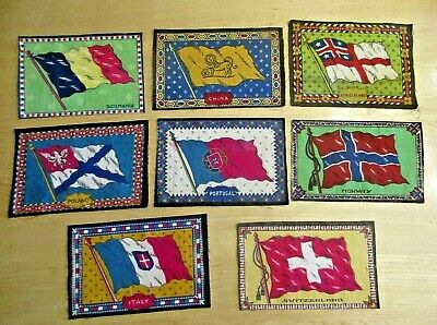 Tobacco Cigar Felt Flags From 8 Different Countries Rare Early Flags Great Color