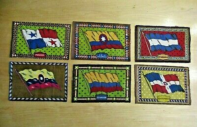 Tobacco Cigar Felt Flags From 6 Different Countries Rare Early Flags Great Color