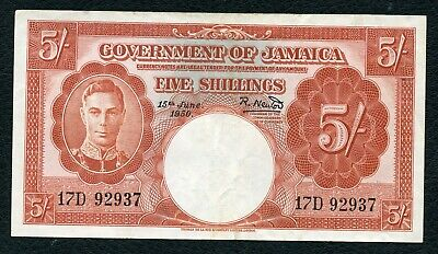 British Jamaica P-37a  5 Shillings 1950 XF