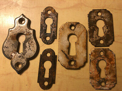 Vintage Collection Of 6 Keyhole Cover Plates Thick Metal Classic Designs Patina