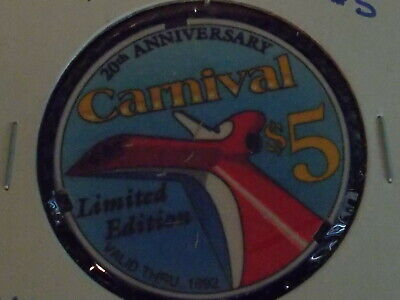 CARNIVAL NOTCHED CHIPCO SAMPLE $5 casino gaming poker chip