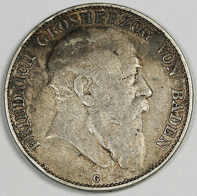 1903 G GERMANY Baden Five 5 Mark Silver Coin Fine/VF Toned KM #274