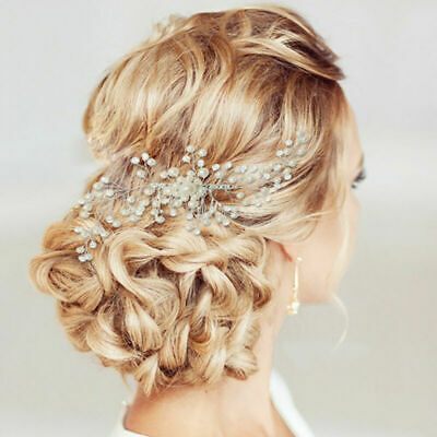 Hair Accessories Pearls Slide Headpiece Wedding Crystal Bridal Hair Comb Clips