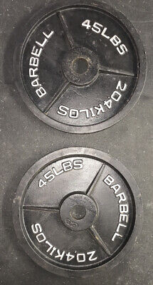 Pair [2] of 45 lb Olympic  Barbell Weight Plates Set 90 Lb Total Home Gym
