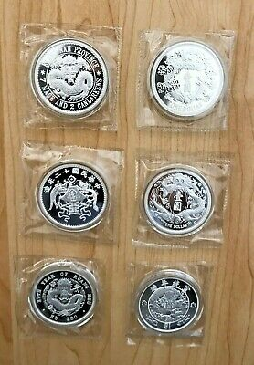 2018 2019 2020 ALL 6 COIN SET China Dragon Phoenix Restrike  1 OZ Silver SEALED