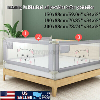 71/79'' Baby Bed Rail Fence Adjustable Guardrail Toddler Infant Safety Gate Home