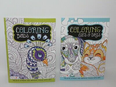 Lot of 2 Adult Coloring Books Featuring Animals - Cats & Dogs ~ Birds