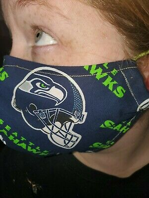 Homemade Fabric Reusable Face Mask washable Seattle Seahawks SHIPS SAME DAY