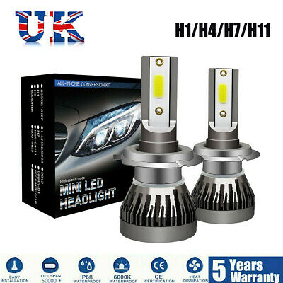 2x 4-sides//2sides H7 CREE LED Headlight Kit 200W 6000K 30000LM Replacement Bulbs