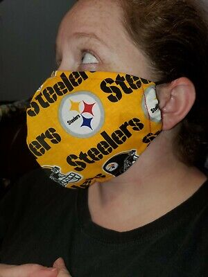 Homemade Fabric Reusable Face Mask washable Pittsburgh Steelers SHIPS SAME DAY