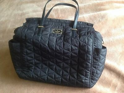 Kate Spade Diaper Bag Baby Quilted Black with Unused Change Matt