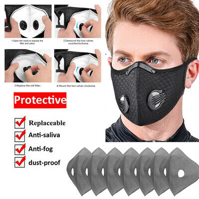 Sports Face Cover Reusable With 3/4/5 Layer Breathing Valves Carbon Filters Pads