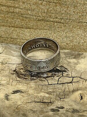 1947/67 British Half Crown Handmade Coin Ring a slice of  historyT to Z+2
