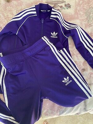 Kids Childrens Adidas Full Tracksuit Zip Up Top And Trousers purple Age  6-7.