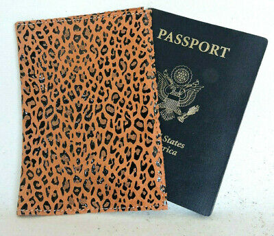 PASSPORT COVER  Leather Animal Print Brown Purple Blue Red
